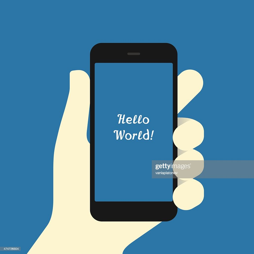 Smartphone in hand Flat design template