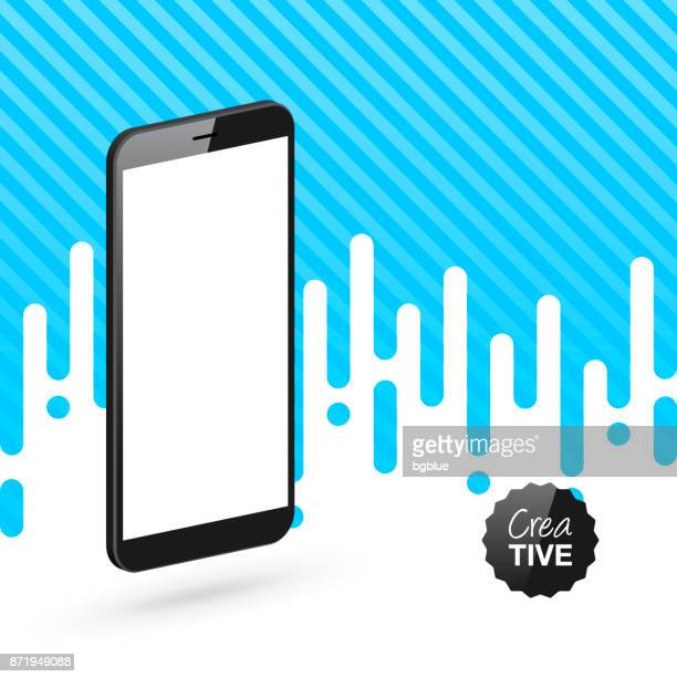 smartphone isolated on abstract blue background - isometric mobile phone template - blank screen stock illustrations, clip art, cartoons, & icons