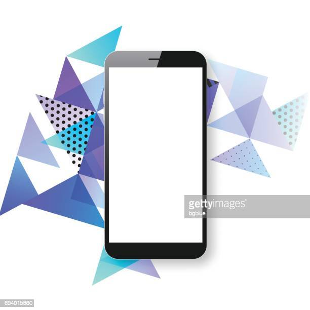 smartphone isolated on abstract geometric background - mobile phone template - blank screen stock illustrations, clip art, cartoons, & icons
