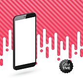 Smartphone isolated on abstract red background - Isometric Mobile Phone Template