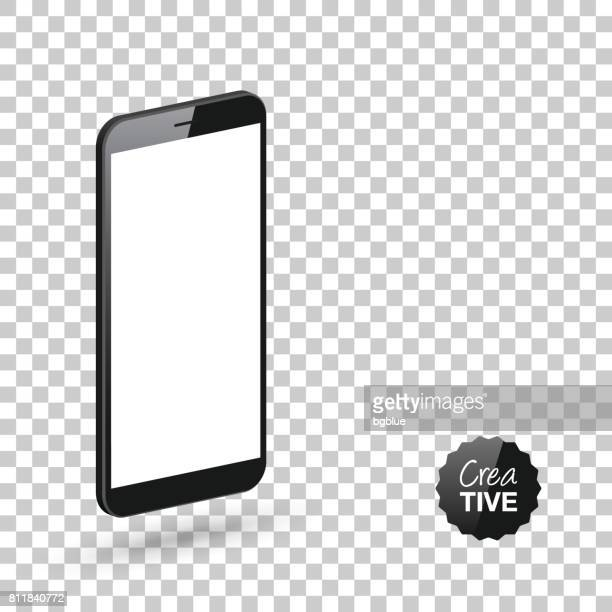 Smartphone isolated on blank background - Isometric Mobile Phone Template