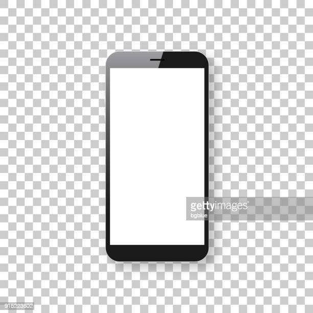 smartphone isolated on blank background - mobile phone template - mobile phone stock illustrations, clip art, cartoons, & icons