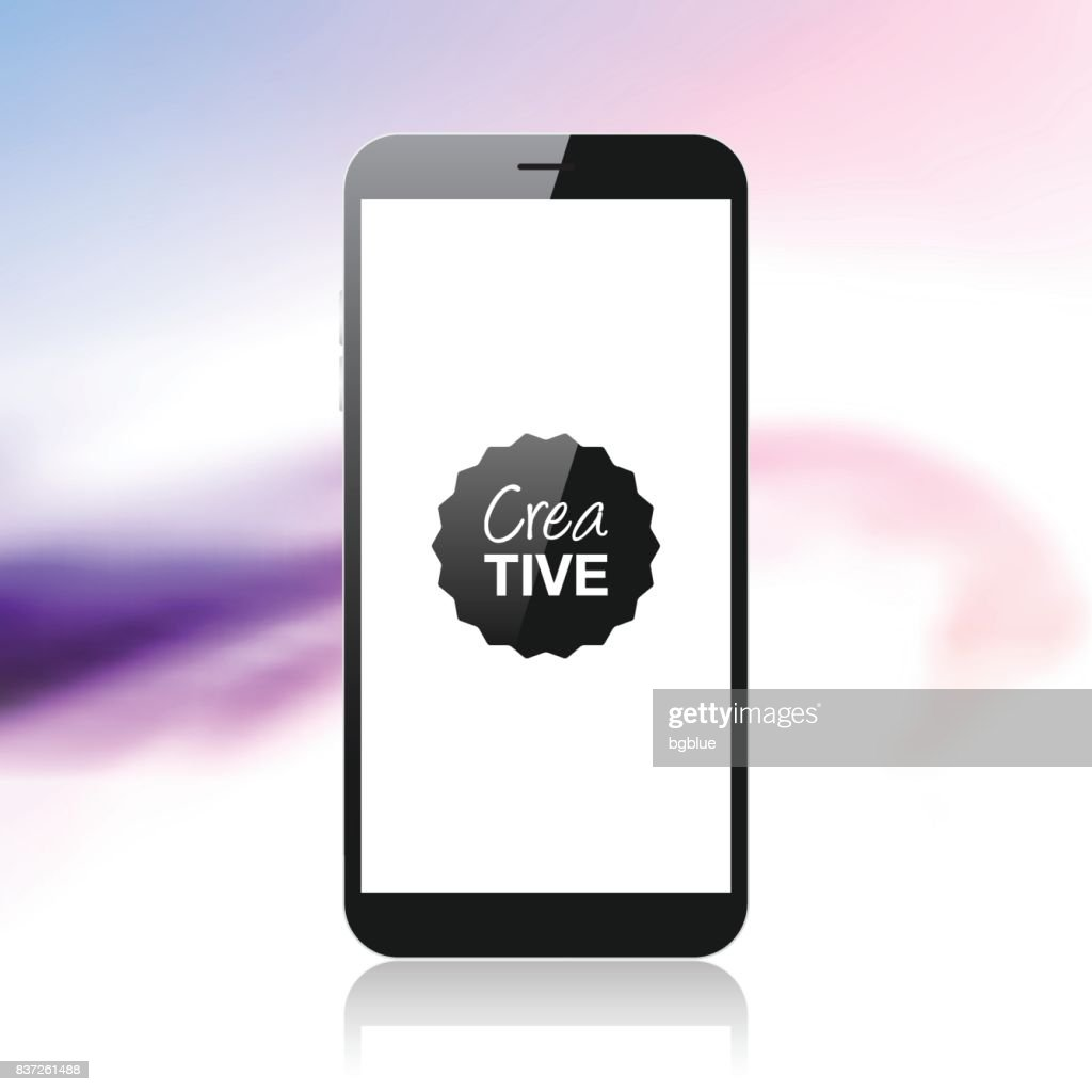 Smartphone isolated on colorful abstract background - Mobile Phone Template : stock illustration