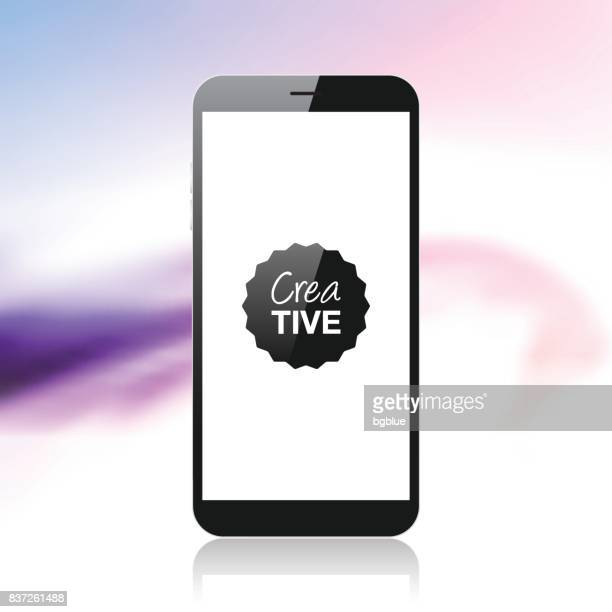 smartphone isolated on colorful abstract background - mobile phone template - blank screen stock illustrations, clip art, cartoons, & icons