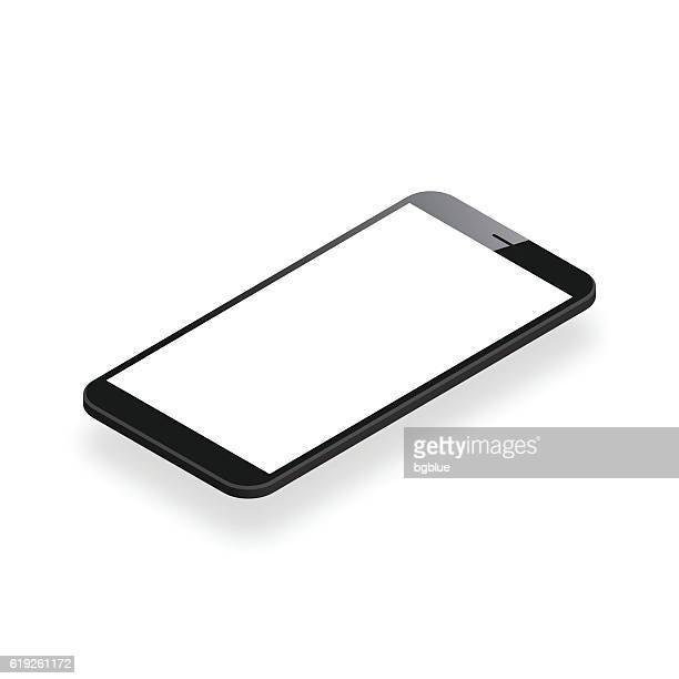Smartphone isolated on White Background - Isometric Mobile Phone Template