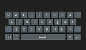 Smartphone keyboard, mobile phone keypad vector mockup.