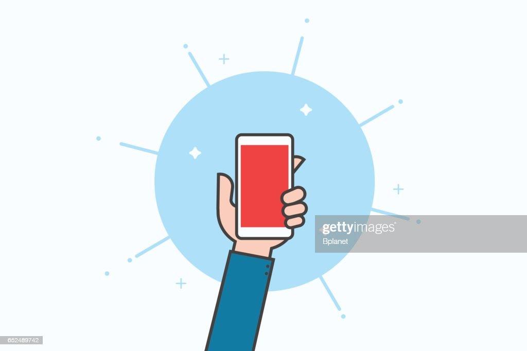 Smartphone line icon design.