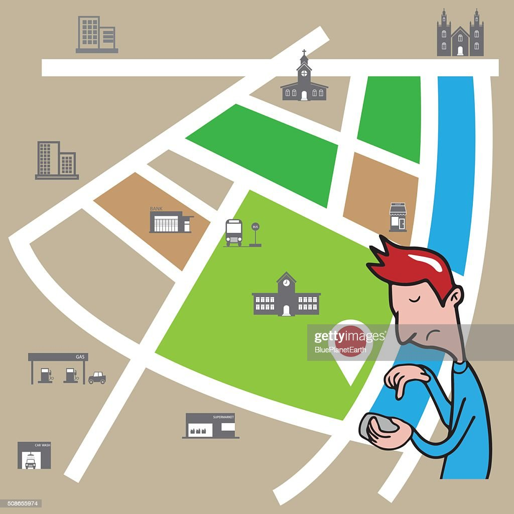 Smartphone man searching location : Vector Art