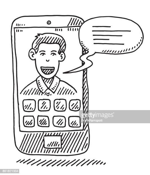 smartphone man talking speech bubble drawing - video conference stock illustrations