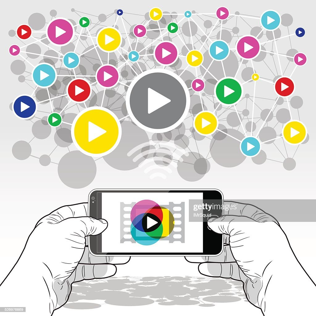 SmartPhone media streaming : Vector Art