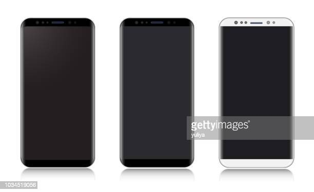smartphone, mobile phone black and silver colors, realistic vector illustration - portability stock illustrations