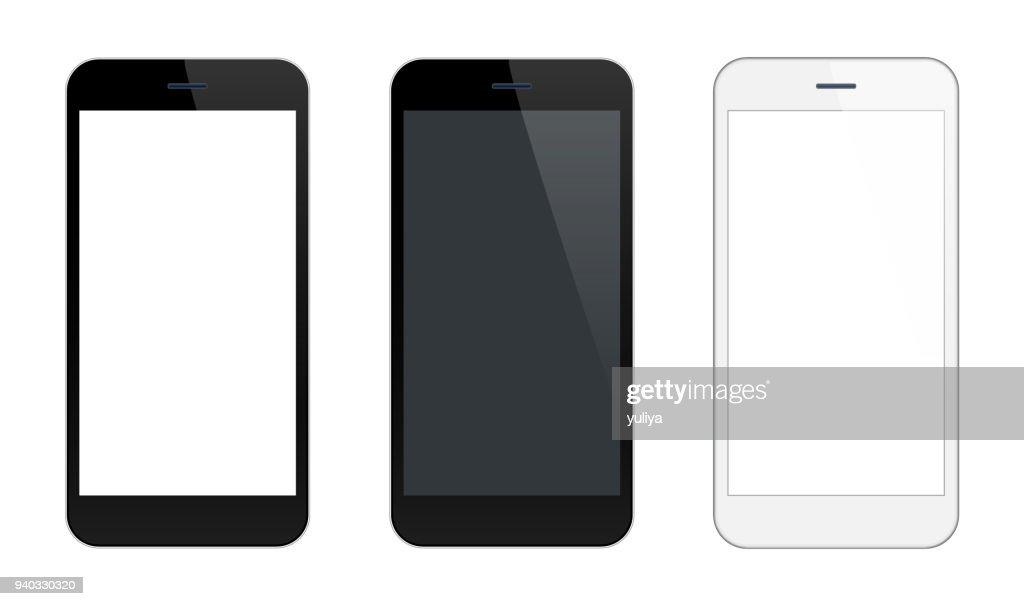 Smartphone GSM zwarte en zilveren kleuren : Stockillustraties