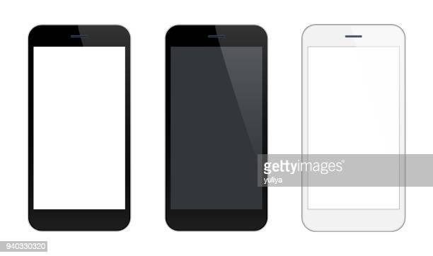 smartphone mobile phone black and silver colors - mobile phone stock illustrations, clip art, cartoons, & icons