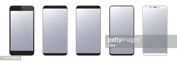 smartphone, mobile phone in black and silver colors, realistic vector illustration - model object stock illustrations