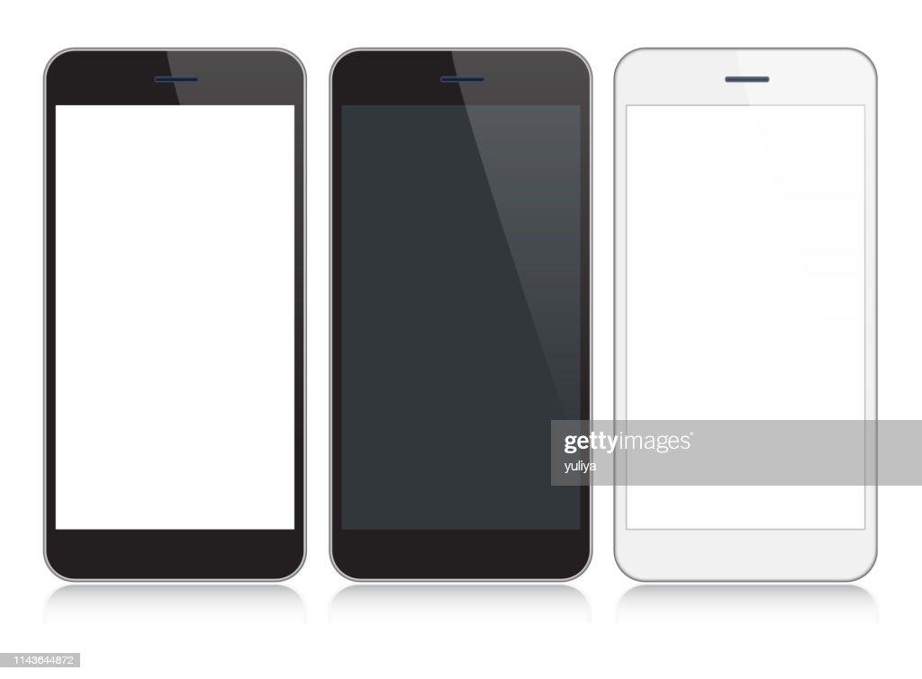 スマートフォン、黒と銀の色で反射で携帯電話、リアルなベクトルイラスト : ストックイラストレーション