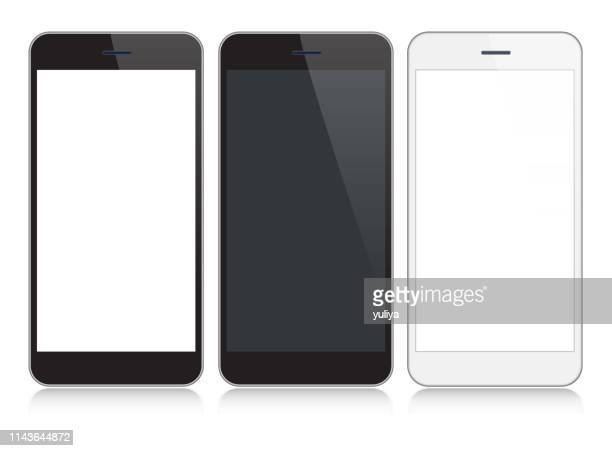 smartphone, mobile phone in black and silver colors with reflection, realistic vector illustration - model stock illustrations