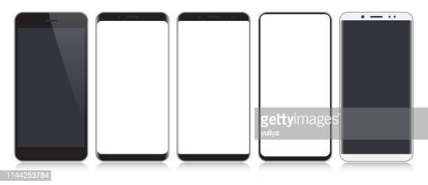 ilustraciones, imágenes clip art, dibujos animados e iconos de stock de smartphone, teléfono móvil en colores negro y plata con reflexión, ilustración vectorial realista - sombra
