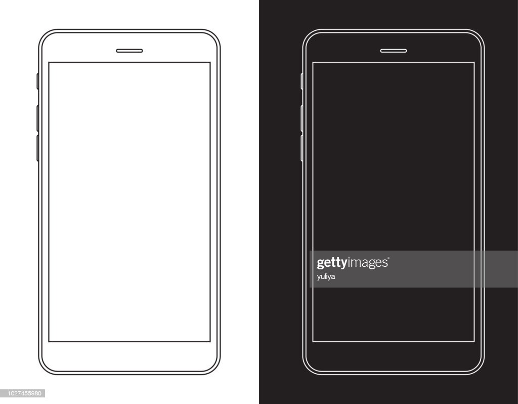 Smartphone, Mobile Phone in Black and White Wireframe : Stock Illustration