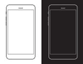 Smartphone, Mobile Phone in Black and White Wireframe