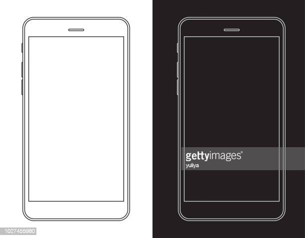 smartphone, mobile phone in black and white wireframe - telephone stock illustrations