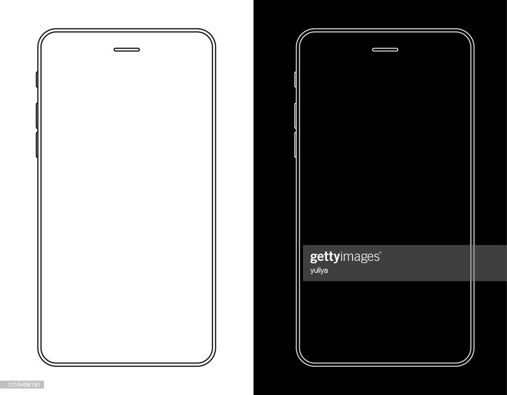 Smartphone, Handy In schwarz und weiß Drahtbild : Stock-Illustration