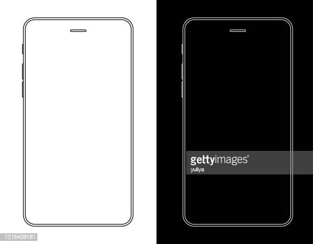 illustrations, cliparts, dessins animés et icônes de smartphone, téléphone mobile en noir et blanc wireframe - téléphone mobile intelligent