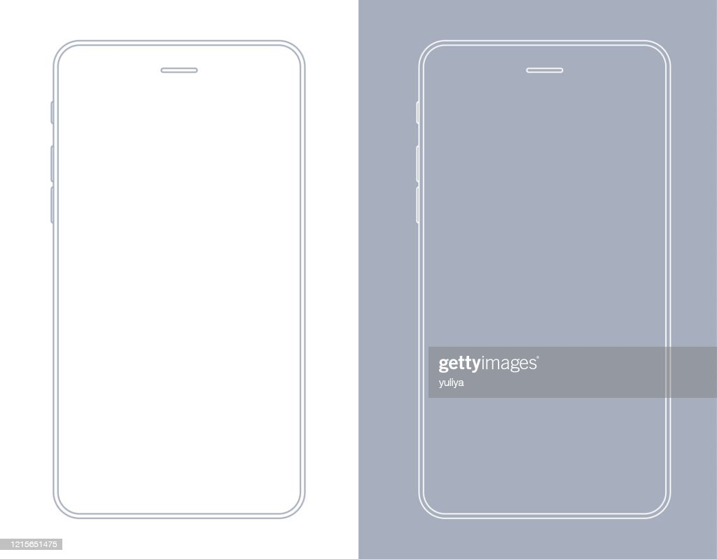 Smartphone, cellulare in wireframe di colore grigio e bianco : Illustrazione stock