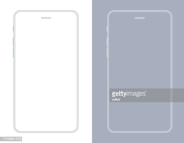 smartphone, mobile phone in gray and white color wireframe - smart phone stock illustrations