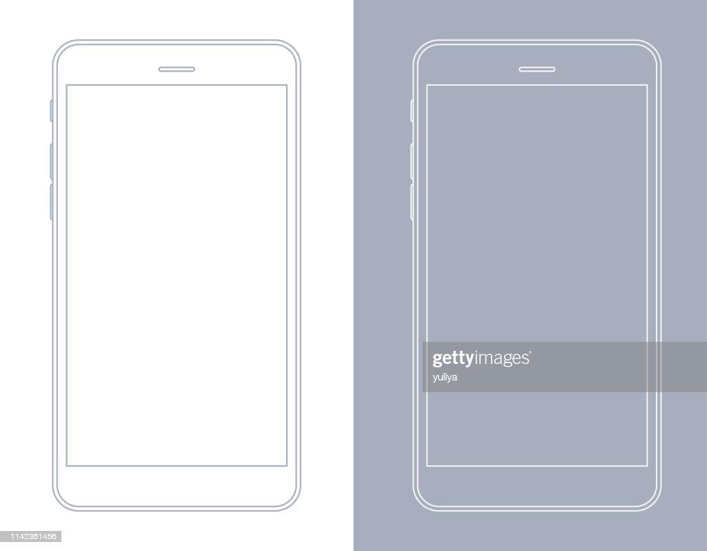 Smartphone, Handy in Gray und White Wireframe : Stock-Illustration