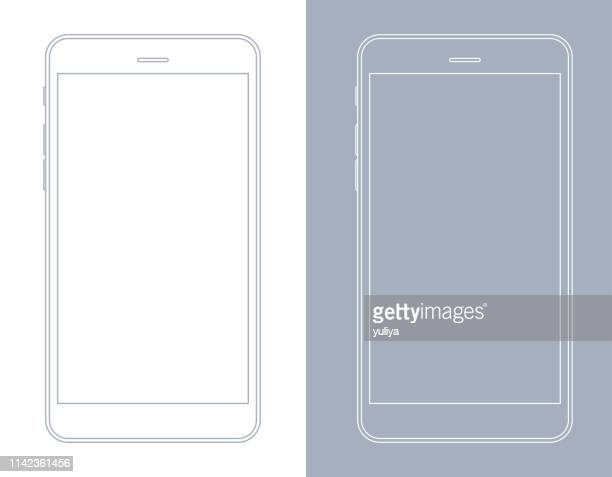 smartphone, mobile phone in gray and white wireframe - mobile phone stock illustrations