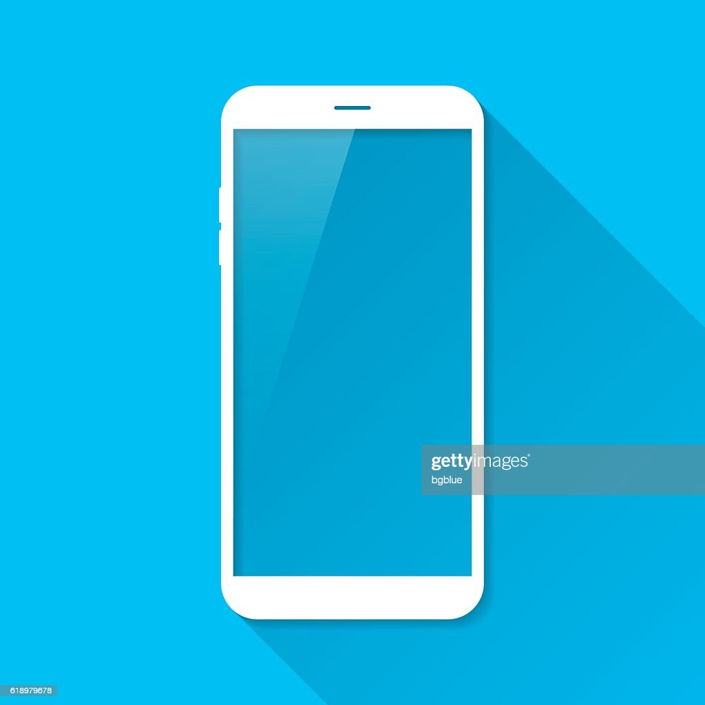 Smartphone, Mobile Phone on Blue Background, Long Shadow, Flat Design : Stock Illustration