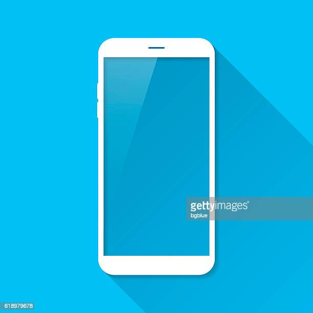 smartphone, mobile phone on blue background, long shadow, flat design - mobile phone stock illustrations