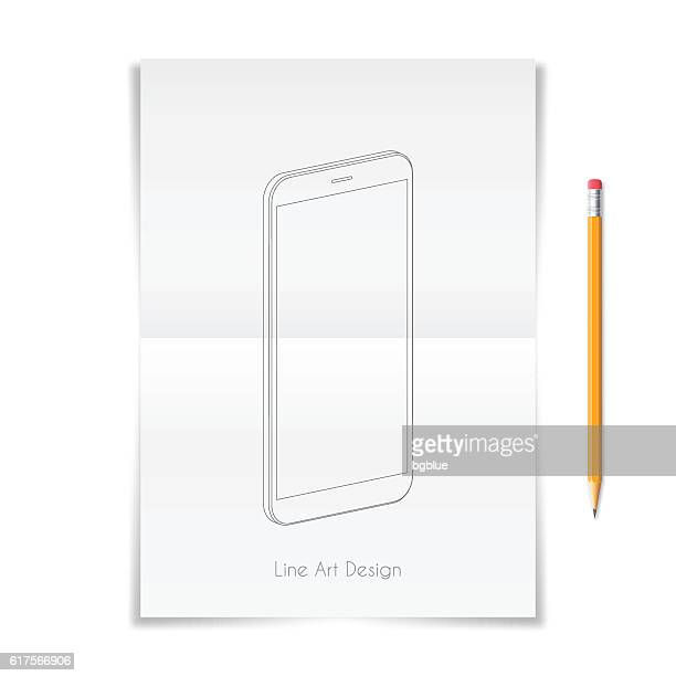 Smartphone, mobile phone outline template drawn on folded sheet.