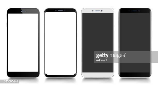 smartphone. mobile phone. telephone. realistic vector  illustration - blank stock illustrations