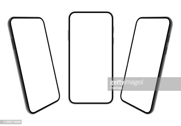 smartphone. mobile phone template. telephone. realistic vector illustration of digital devices. 3d - point of view stock illustrations
