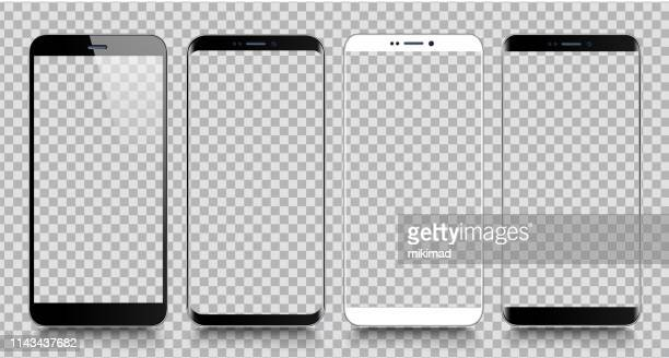 smartphone. mobile phone template. telephone. realistic vector illustration of digital devices - white stock illustrations