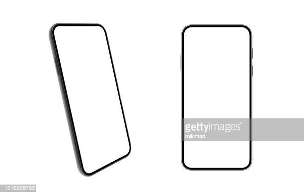 smartphone. mobile phone template. telephone. realistic vector illustration of digital devices - point of view stock illustrations