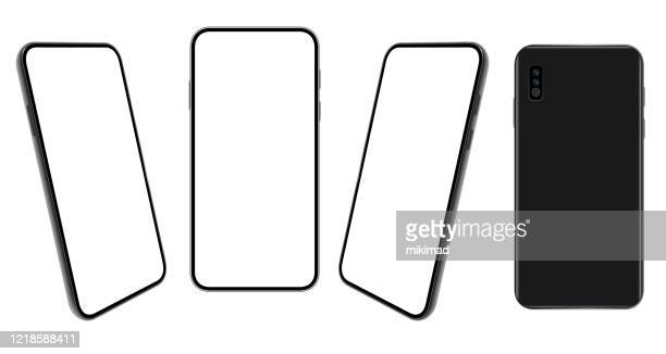 smartphone. mobile phone template. telephone. realistic vector illustration of digital devices. front and rear view - point of view stock illustrations