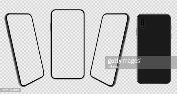 スマート フォン。携帯電話のテンプレート。電話。デジタルデバイスのリアルなベクトルイラスト。フロントとリアビュー - 電子手帳点のイラスト素材/クリップアート素材/マンガ素材/アイコン素材