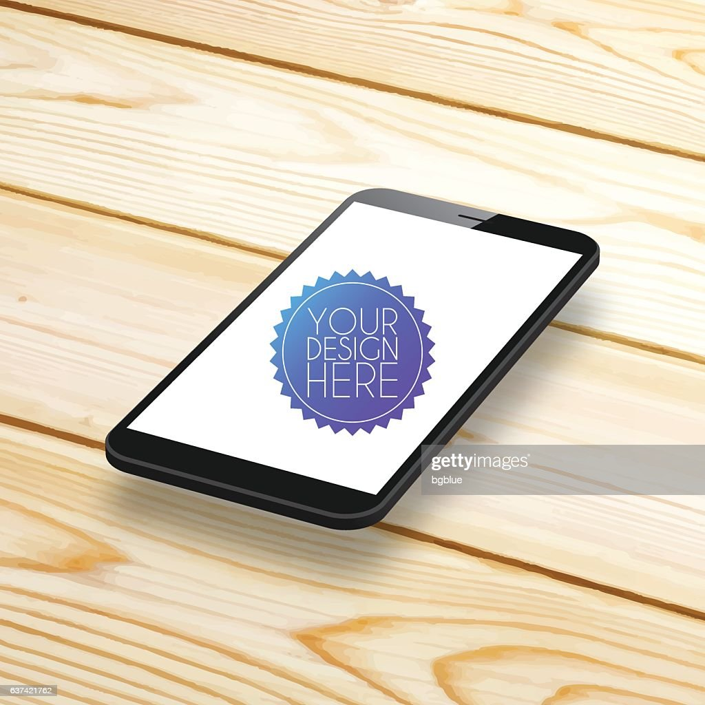Smartphone, Mobile Phone with blank Screen on Wooden Background