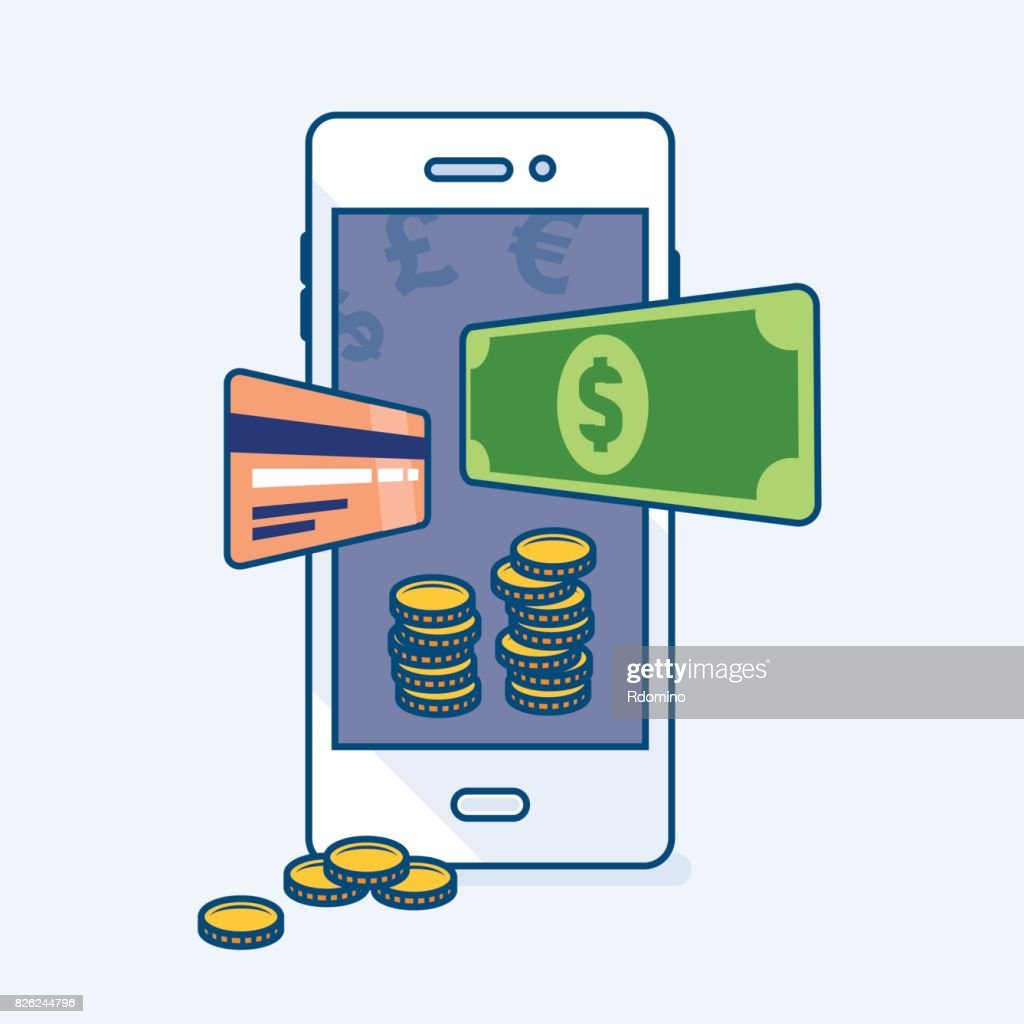 Smartphone mobile with flying dollar money banknote, credit card, coins