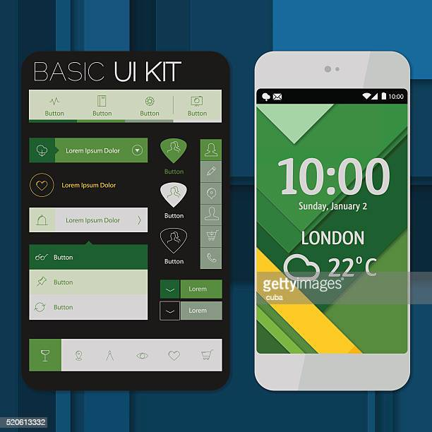 smartphone mockup with basic ui/ux kit - menu background stock illustrations
