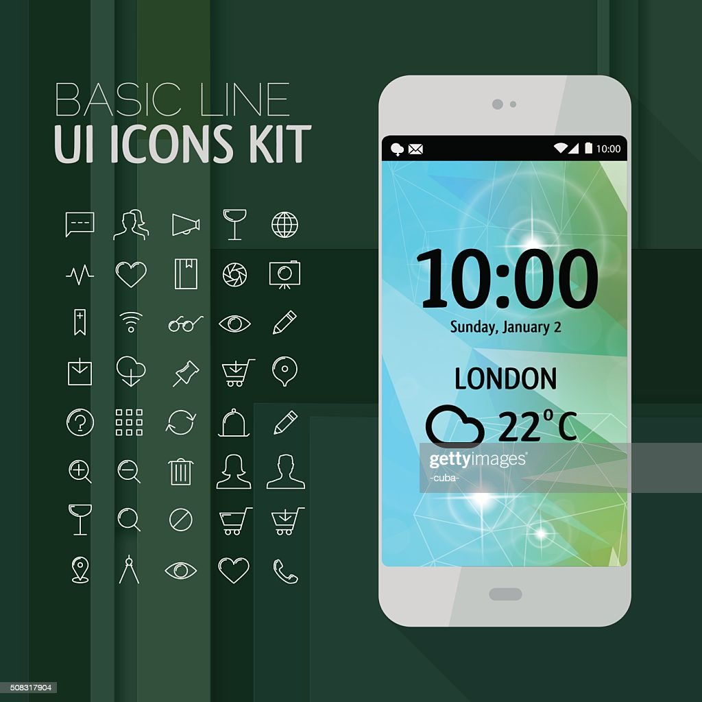 Smartphone mockup with line icons