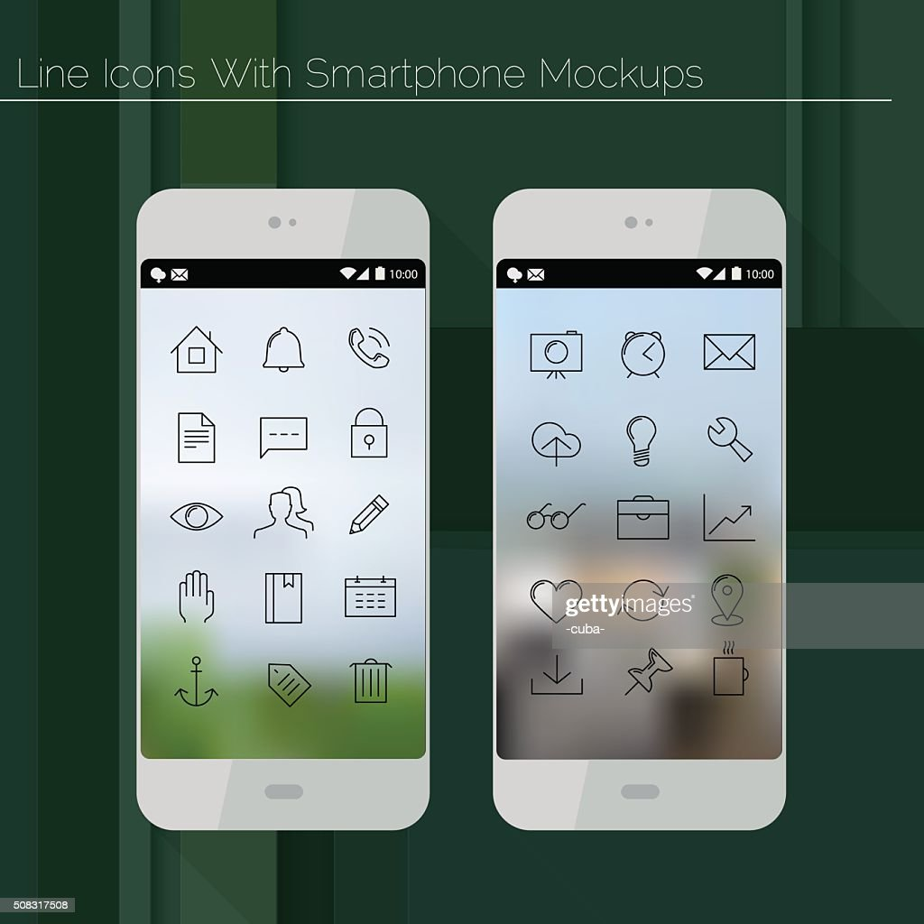 Smartphone mockups with line icons
