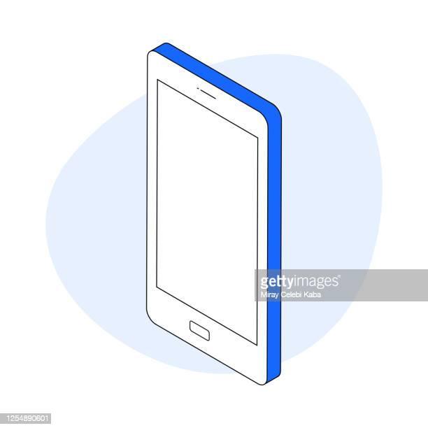スマートフォンのモダンアイソメトリック線イラストコンセプト - 角度点のイラスト素材/クリップアート素材/マンガ素材/アイコン素材