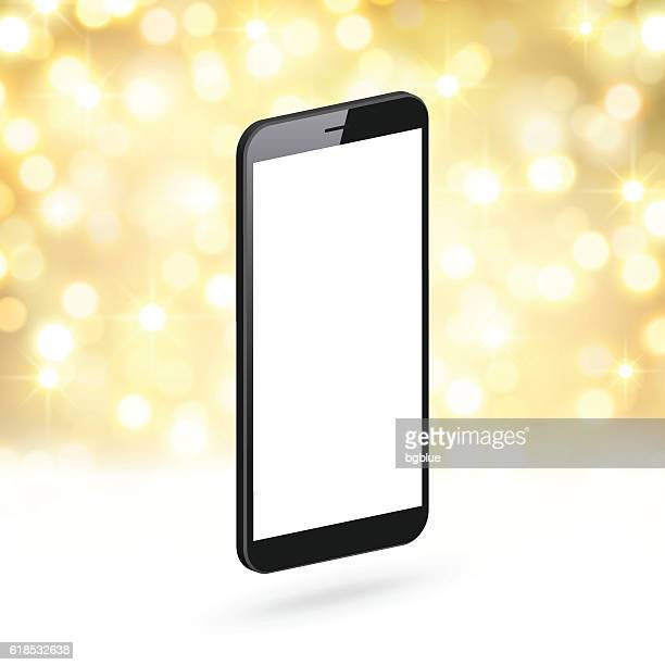 smartphone on golden and shiny background - mobile phone template - blank screen stock illustrations, clip art, cartoons, & icons