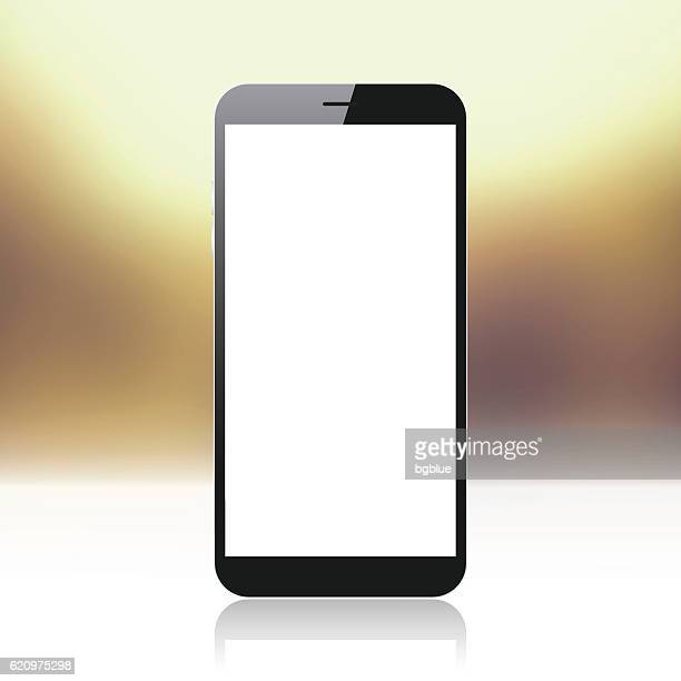 Smartphone on golden and shiny background - Mobile Phone Template
