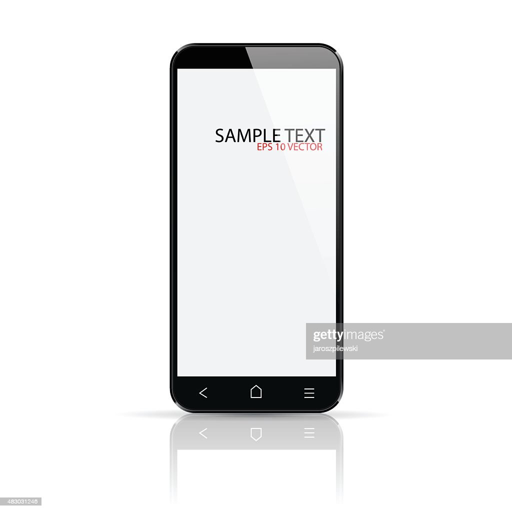 Smartphone on white background with reflection.