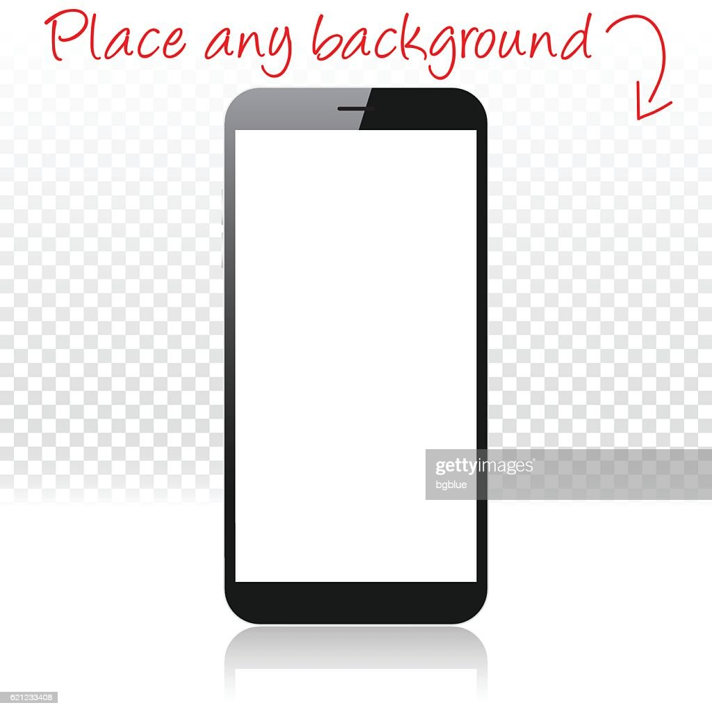 Smartphone on white floor and blank background, Mobile Phone Template : stock illustration