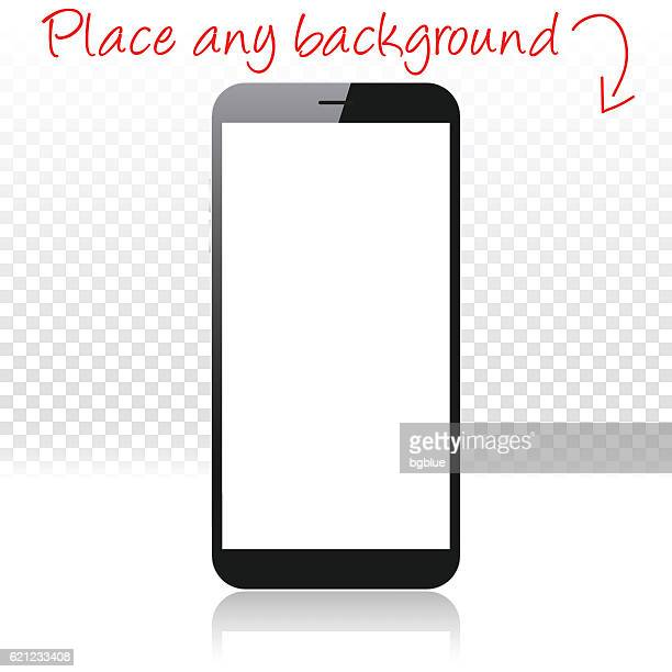 smartphone on white floor and blank background, mobile phone template - blank screen stock illustrations, clip art, cartoons, & icons